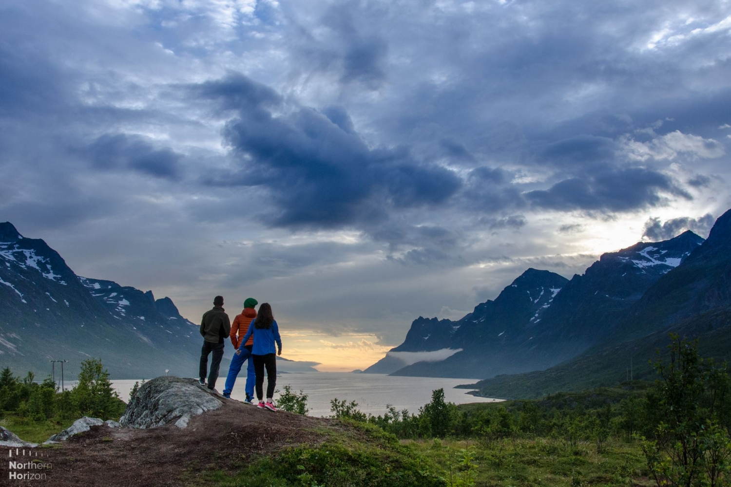 people enjoying view over fjord with mountains and sea