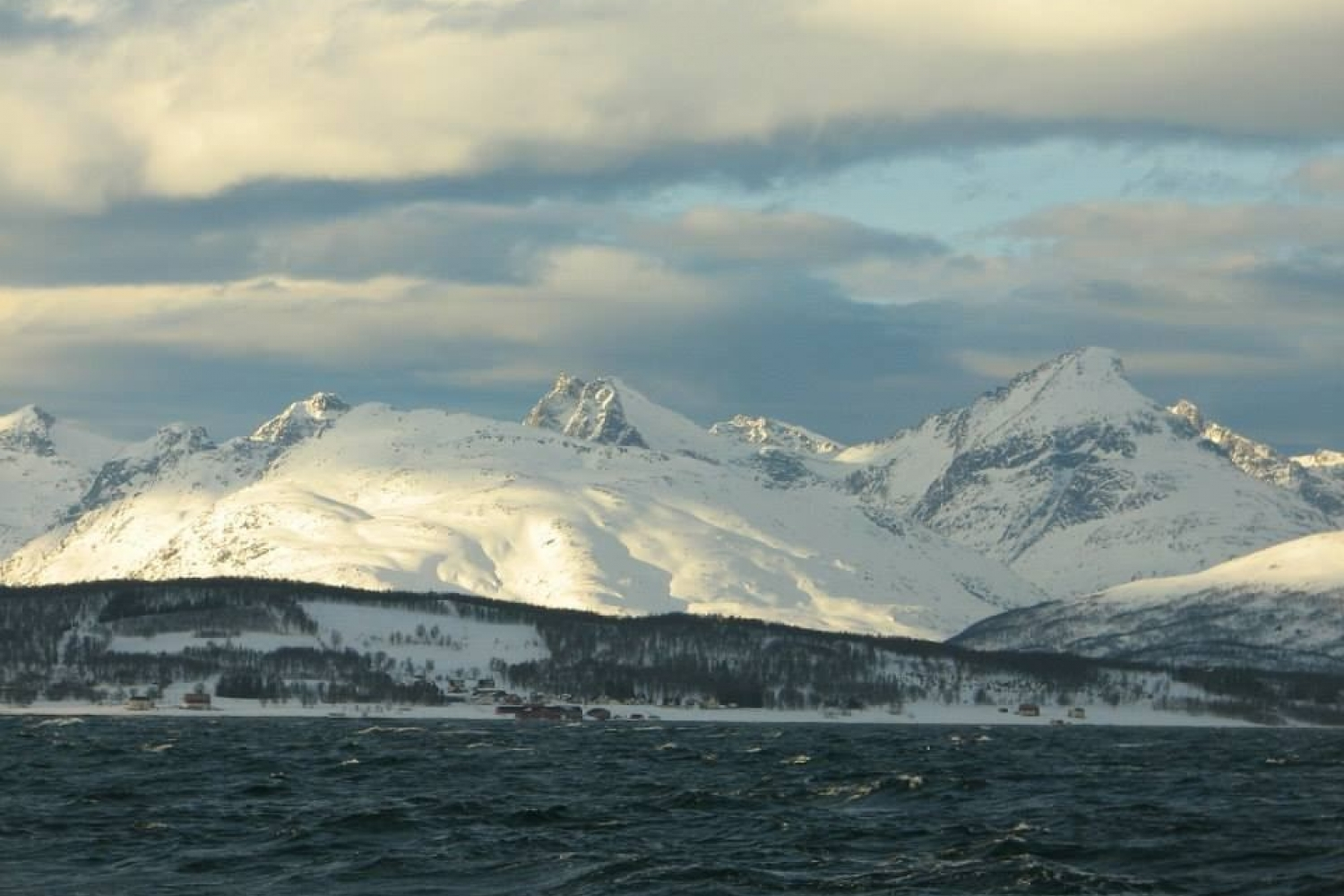 Sea and snowy mountains