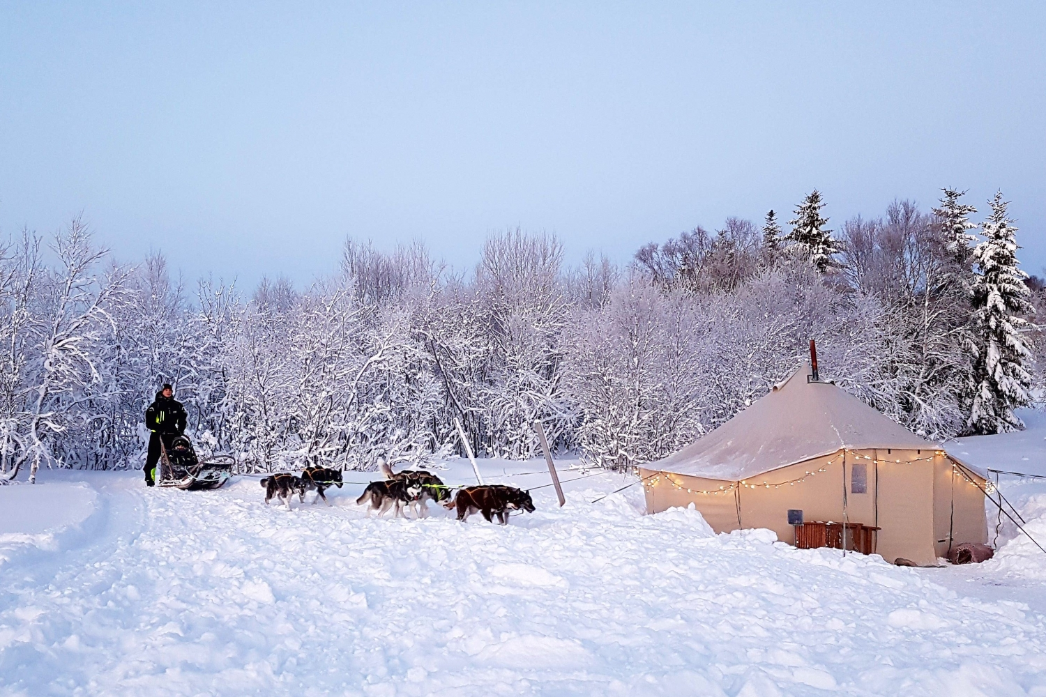 Dog sled and tent in a snowy landscape