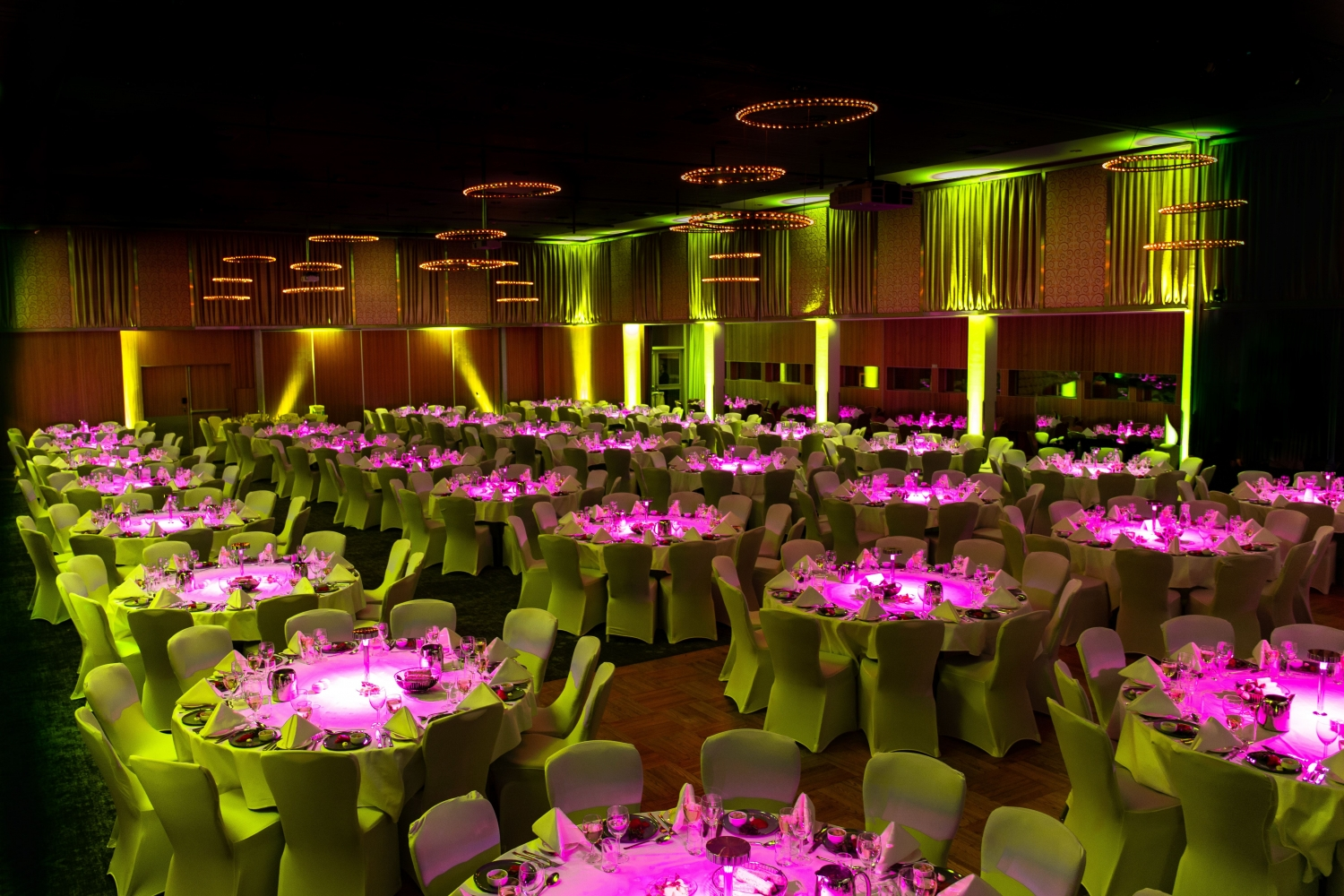 a room decorated to a banquet