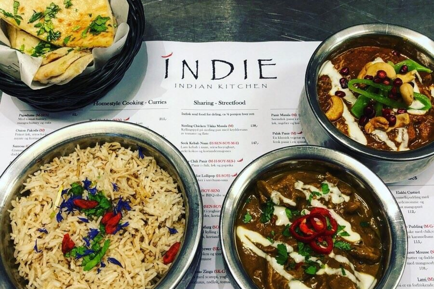Various dishes served at Indie Restaurant